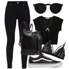 polyvore >> smartcloset app (primark jeans, vans shoes, mango tee, h&m necklace) Vans Shoes Outfit, Black Vans Outfit, Primark Jeans, Primark Clothes, Primark Outfit, Smart Closet, School Outfits, Outfits For Teens, Casual Outfits