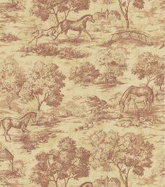 Appaloosa Burgundy Horse Toile Wallpaper