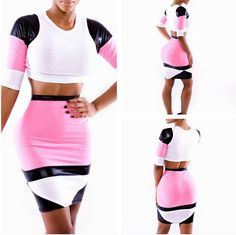 WOMEN FASHION SUMMER SEXY PARTY BODYCON BANDAGE DRESS GIRL HALF SLEEVE HIGH WAIST PATCHWORK CLUB TWO PIECE DRESSES