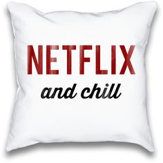 Netflix and Chill Typography Throw Pillow ($23) ❤ liked on Polyvore featuring home, home decor, throw pillows and quote throw pillows
