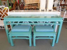 Ming Style Fretwork Console and 2 convertible Stools - Ming Style FRETWORK Console with inset glass top & 2 convertible Stools / Tables in nice as found VINTAGE condition. There are minor imperfections to the NEWLY lacquered finish. Seats are NEWLY upholstered.