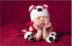 Adorable Puppy Dog Crochet Hat   Paws Set Photography Props