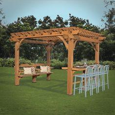 comment construire une pergola soi-même pergola bois avec un banc et un bar