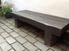 Garden bench made from railway sleepers.Total cost about a tenner and a bit of very basic carpentry.The sleepers were new and attacked with a chisel! Outdoor Landscaping, Outdoor Gardens, Patio, Backyard, Ideas Para Decorar Jardines, Railway Sleepers, Sleepers Garden, Deck Cost, Garden Shelves