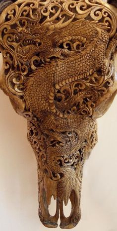 Dragon Carved Water Buffalo Skull with Horns - Boho Chic Bohemian Decor