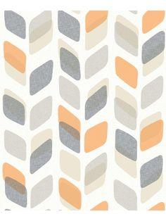 Papier peint à motif Retro orange et gris - GRANDECO