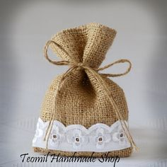 "SET OF 100 Natural Rustic Burlap Wedding Favor Bag or Gift Bag 4"" x 6"" with burlap drawstring"
