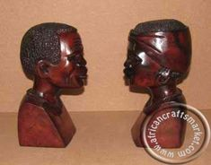 A magnificent pair of hand carved African heads, carved out of hard wood and polished off to a smooth polish. These two sculptures are are an African male and female Zimbabwe, Tribal Art, African Art, Wood Carving, Hand Carved, Sculptures, Iron, Couple, Wood Sculpture