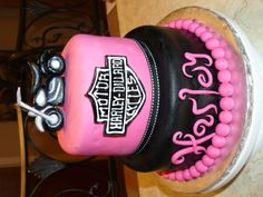 Harley Cake pink and black harley davidson cake for a old girl whose name is Harley Torta Harley Davidson, Harley Davidson Birthday, Black Harley Davidson, Crazy Cakes, Fancy Cakes, Gorgeous Cakes, Amazing Cakes, Cake Designs For Girl, Motorcycle Cake