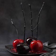 Black-Hearted Candy Apples Recipe... The glossy coating of these old-fashioned candy apples is hard, not soft.  It's best to lick them like a lollipop!  Perfect touch for a Halloween Party!  :)  http://www.tasteofhome.com/Recipes/Black-Hearted-Candy-Apples#
