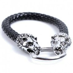 Chic Double Leopards Print Knitted PU Leather Men's Bracelet, AS THE PICTURE in Bracelets | DressLily.com