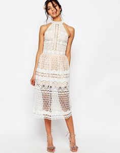 Buy Jarlo Tall High Neck Allover Cutwork Lace Prom Skater Midi Dress at ASOS. Get the latest trends with ASOS now. White Halter Dress, Lace Midi Dress, White Maxi Dresses, Peplum Dress, Skater Dress, Mini Prom Dresses, Dress Prom, Dress Wedding, Legs