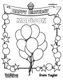 Personalize this birthday coloring page with your sponsored child's name
