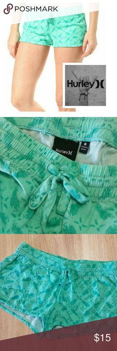 Hurley Beach Rider Menta Shorts These shorts are Sooo soft! Worn 1 or 2 times. Great condition! No rips or tears! Super cute. Size Small.  These shorts closest to color in pic 2. A tad bit lighter....Very pretty. Pineapple pattern.  100% Viscose Hurley Shorts