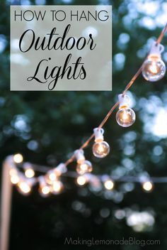 How to hang outdoor lights WITHOUT walls! What an easy and inexpensive way to ad - Outdoor Lighting - Ideas of Outdoor Lighting - How to hang outdoor lights WITHOUT walls! What an easy and inexpensive way to add magic to your deck or patio. Backyard Lighting, Outdoor Lighting, Outdoor Decor, Outside Lighting Ideas, Patio Lighting Ideas Diy, Club Lighting, Wall Lighting, Strip Lighting, Modern Lighting