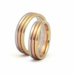 Ref: Argolla en 3 colores media caña e oro de 18k   *El precio de cada pieza esta sujeto al precio del oro a la fecha de compra y tallas correspondientes.
