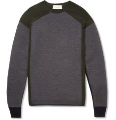 MarniBonded and Fine-Knit Panelled Wool-Blend Sweater|MR PORTER