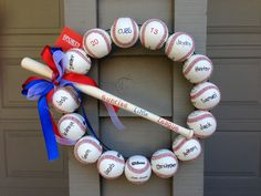 Baseball coach thank you gift...no drill baseball wreath :) Buy a pre-made 3 wire wreath from hobby lobby $4.99 & hot glue balls and bat to wreath.  Personalize as wanted.