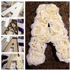"DIY cardboard letter with flowers. Need: cardboard letter from ""JoAnn's"" craft store, ""dollar-store"" flowers, paint, hot glue gun, & xacto-knife."