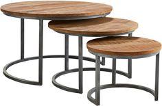 Salontafel set van 3, ronde salontafels met een metalen frame en houten blad. Laagste prijsgarantie Trintage salontafel rond set van 3 bij de grootste woonboulevard van Oost-Nederland