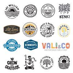 Stuart Smythe Logo design branding illustration Various logos crated for brands over the years. Logos Vintage, Logos Retro, Vintage Logo Design, Surf Logo, Beach Logo, Surf Design, Hang Ten, Strand Logo, Logo Branding