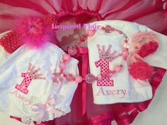 1st Birthday Princess Crown with Number Tutu by InspiredFlair, $95.00
