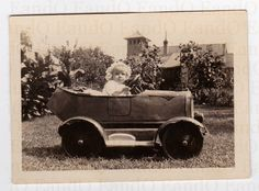 Antique Photo 1920s Child in a Great Toy Riding Car - Awesome Antique Toy Car