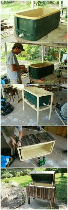 Woodworking® - Woodworking Plans & Projects With Videos - Custom Carpentry — TedsWoodworking Make an outdoor ice chest with a ReStore cooler!Make an outdoor ice chest with a ReStore cooler! Backyard Projects, Outdoor Projects, Pallet Projects, Home Projects, Outdoor Decor, Outdoor Bars, Simple Projects, Outdoor Pallet, Outdoor Sheds