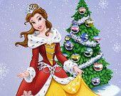 Disney Belle celebrating christmas  cross stitch pattern pdf No.062