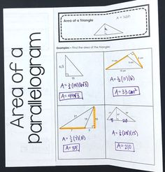 I love this foldable for my high school geometry student's interactive notebooks! Area of a parallelogram and area of a triangle can be challenging for some math students, but this activity makes it more fun. Algebra Interactive Notebooks, Geometry Interactive Notebook, Teaching Geometry, Teaching Math, Maths, Math Lesson Plans, Math Lessons, Sixth Grade Math, Geometry Worksheets
