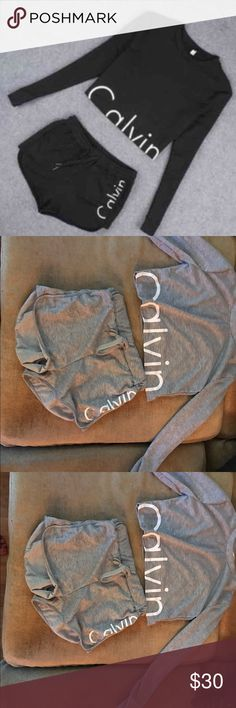 Women's Two Piece Calvin Klein Set Women's Two Piece Calvin Klein Set in Gray. Brand new. Size small ( runs on the smaller side) Ship out next day Calvin Klein Pants Track Pants & Joggers