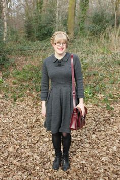 Orla Kiely, grey wool dress, collar, cambridge satchel, oxblood, autumn, fringe, hair up, boots, outfit, style, fashion