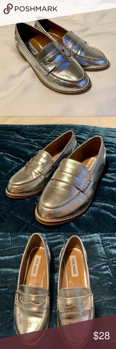 bf83c79cec5d Steve Madden Metallic Silver Loafers Fabulous Metallic Penny Loafers Wear  these to work or out and