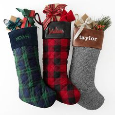quilted christmas stocking herringbone plaid christmas stockings