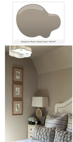 Bedroom paint color is Ashley Gray. Benjamin Moore.