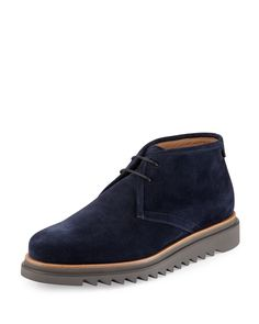 Salvatore Ferragamo Lagos Suede Chukka Boots, Navy (Blue)