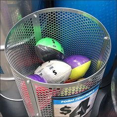 Look close to see the hexagonal pattern in this Perforated Bulk Bin Barrel Ball Display. The perforations add a bit of visibility, and allow color to show Perforated Metal, Hexagon Pattern, Barrel, Home Appliances, Display, House Appliances, Floor Space, Barrel Roll, Billboard