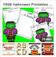 An entire board of FREE educational printables for Halloween