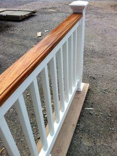 Outdoor stair railing vinyl pvc railing installation for Vinyl decking materials