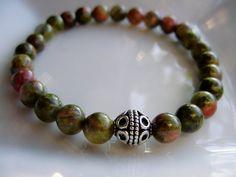 Unakite Bracelet Stretch Bracelet  Semi Precious Stones with accent by CherylsHealingGems, $21.00