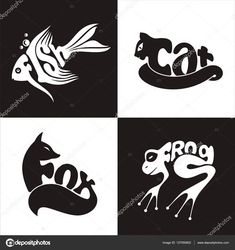 Illustration vector logo animals cat, fox, frogs, fish on black and white background Graffiti, Word Art, Typography Drawing, Word Drawings, Plakat Design, Creative Typography, Animal Logo, Letter Art, Art Classroom
