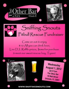 Sniffing Scouts Pit Bill Rescue Fundraiser:  August 1    For more dog related events, visit our website at http://www.OrlandoCanineConnections.com