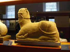 The Iberian Biche of Balazote, fromBalazote (Albacete, Spain). Dates to the4th-5th centuries B.C.E. This sculpture represents an androcephalic bull (a mythical animal with the body of a bull and a human head). It formed part of a funerary monument in which it performed the function of guardian and protector. The head is sculptured from a different block to that used for the body. The mouth is small, the eyes large, and there are the remains of horns.