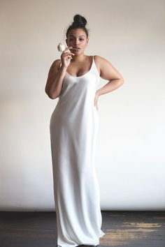 Stone Fox Bride and Eloquii plus size silk slip wedding dress