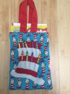 cat in the hat coloring book tote bag childrens tote bag crayon holder - Coloring Book And Crayon Holder