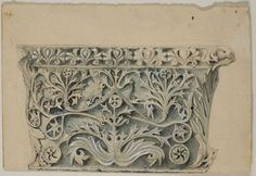 Pen and black ink, with brush and gray wash and white gouache, over traces of graphite, on cream wove paper. The Art Institute of Chicago. Gift of Mrs. Drawing Artist, Sketch Painting, Column Capital, White Gouache, William Morris Art, John Ruskin, Art Institute Of Chicago, Arts And Crafts Movement, Egyptian Art