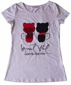 t.shirt maglietta donna ragazza cotone applicazione paillets gatti tg. S/M-L/XL
