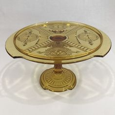 EAPG Amber Medallion pattern Cake Stand made by US Glass circa x Patterned Cake, Cake Stands, Amber Glass, Antiques, Vintage, Ebay, Antiquities, Antique