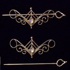 Bronze & Crystal Barrette design 2 by BronzeSmith on Etsy, $25.00