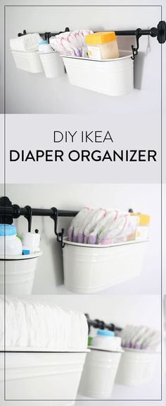 DIY Ikea Wall Diaper Organizer is part of Ikea Nursery Ideas - Diaper organizer DIY using IKEA products I love this DIY because it gets all of your diaper station supplies off the table and onto the wall Nursery Closet Organization, Diaper Organization, Organization Ideas, Closet Storage, Ikea Closet, Closet Small, Changing Table Organization, Baby Storage, Nursery Storage